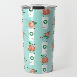 Coffee lovers mint floral bouquet gift idea for sbucks fan java pattern kitchen food Travel Mug