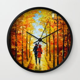 Autumn walk in the Park Wall Clock