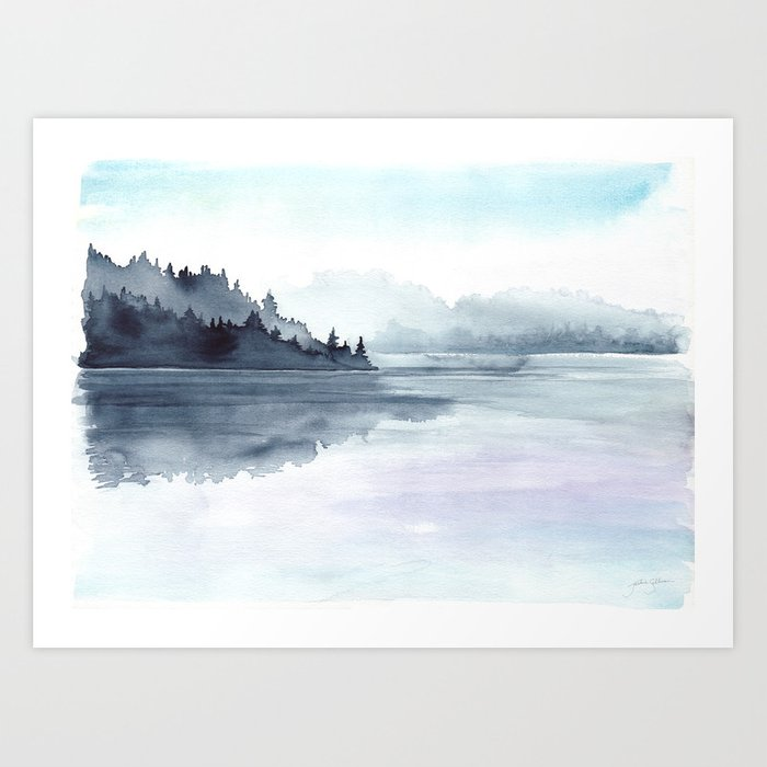 Misty Lake Morning Art Print