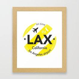 LAX Los Angeles round sticker yellow Framed Art Print