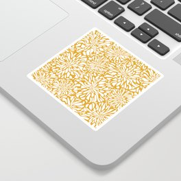 Floral Waves, Yellow, Floral Prints Sticker