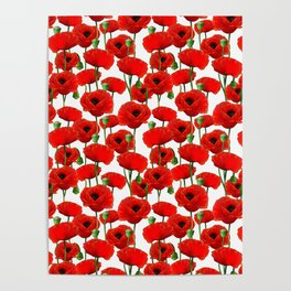 Red Poppy Pattern Poster