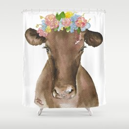 Brown Cow with Floral Wreath Shower Curtain