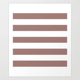 Burnished brown - solid color - white stripes pattern Art Print
