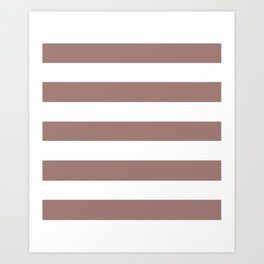 Burnished brown - solid color - white stripes pattern Art Print