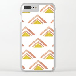 Pink and Yellow Boho Triangles Clear iPhone Case