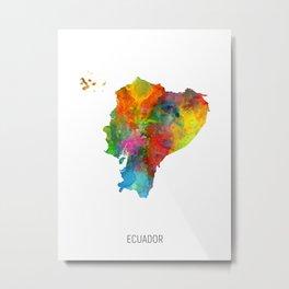 Ecuador Watercolor Map Metal Print