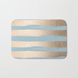 Painted Stripes Gold Tropical Ocean Sea Blue Bath Mat