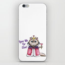 Queen of Hearts Persian Cat Illustration iPhone Skin