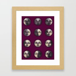 moon phases on dark purple Framed Art Print
