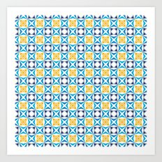 Yellow and blue tiled pattern Art Print