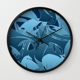 Blue Abstract Mayhem Wall Clock