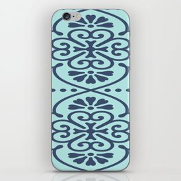 Boho Design Dark Blue On Light Blue iPhone Skin