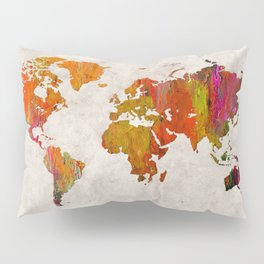World Map 57 Pillow Sham