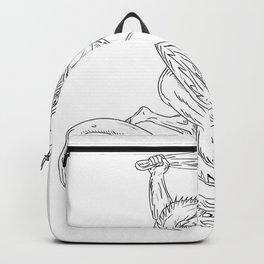 Hercules Grappling Dragon Drawing Black and White Backpack