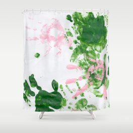 fingerpaint pink and green Shower Curtain