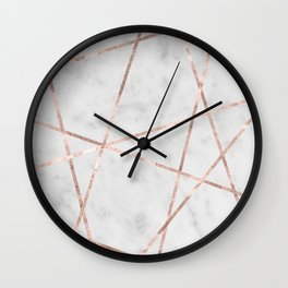 White Marble Rose Gold Geo Glam #1 #geo #decor #art #society6 Wall Clock