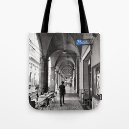 Black and white Bologna Street Photography Tote Bag