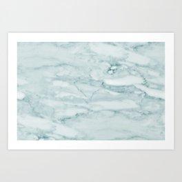 Marble Pale Teal Sea Green Marble Art Print