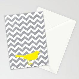 Yellow Bird on Gray Chevron Stationery Cards