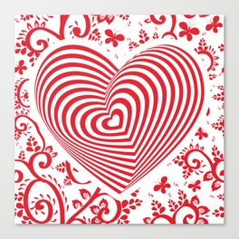 red white heart on red floral ornament background. Optical illusion of 3D Canvas Print