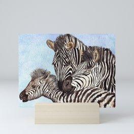Zebra Cuddles by Maureen Donovan Mini Art Print