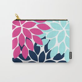Navy Pink Aqua Flower Burst Petal Floral Carry-All Pouch