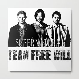 Supernatural Team Free Will W Metal Print