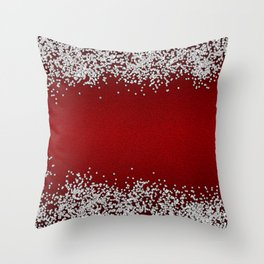 Shiny Red Texture With Silver Sparkles Throw Pillow