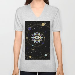 The Solar System Colored Version Unisex V-Neck