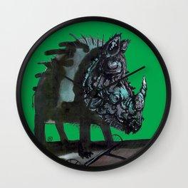 Rhinoceros on wheels Wall Clock