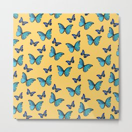 Blue Yellow Butterfly Glam #1 #pattern #decor #art #society6 Metal Print