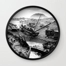 Iwo Jima Beach Painting Wall Clock