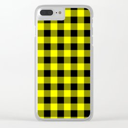 Bright Yellow and Black Lumberjack Buffalo Plaid Fabric Clear iPhone Case