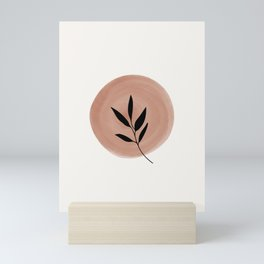 Minimalist Leaf Branch On Abstract Watercolor Shape Mini Art Print