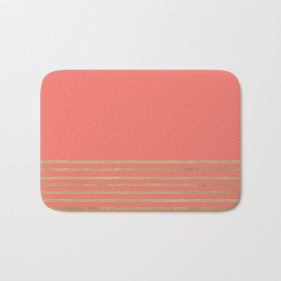 Peach and Gold Stripes Bath Mat