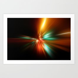 abstract acceleration speed motion on night road Art Print