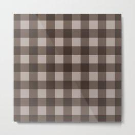 Brown Checkered Plaid Squares Metal Print