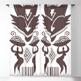 The Cat Goddess - Brown Abstract Modernist Blackout Curtain