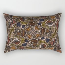 Funghi & Fern Forest, Fall Colors , Foraging for Woodland Mushrooms Brown, Orange Purple Rectangular Pillow