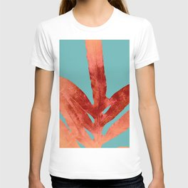 Red Fern on Teal T-shirt