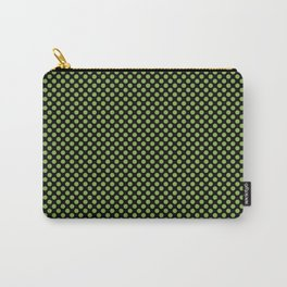 Black and Greenery Polka Dots Carry-All Pouch