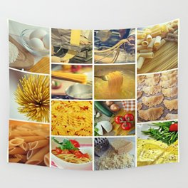 Collage Pasta food Wall Tapestry