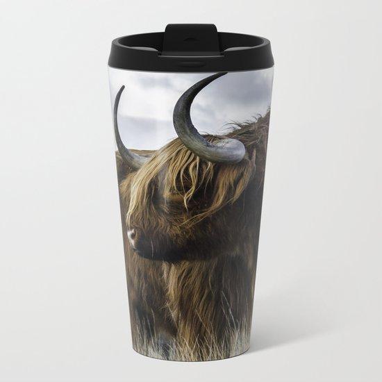 Highland Cow Metal Travel Mug