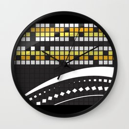Abstract Crossword Puzzle Squares on Black Wall Clock