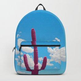 Pink Saguaro Against Blue Cloudy Sky Backpack