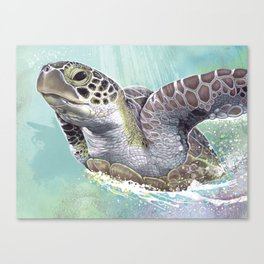 Green Sea Turtle Rides The Waves Canvas Print