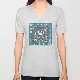 Squared layers in orange and blue Unisex V-Neck