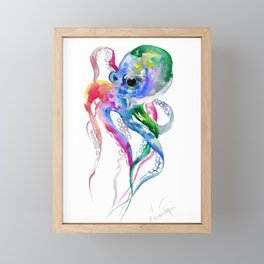 Rainbow Octopus, blue green octopus decor Framed Mini Art Print