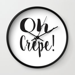 Black and White Oh Crepe Brushstroke Watercolor Wall Clock
